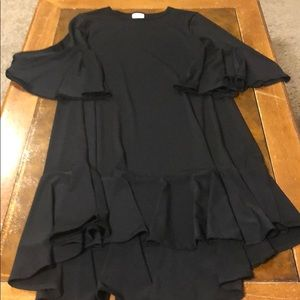 BLACK Maurine bell sleeve dress, ruffle hem